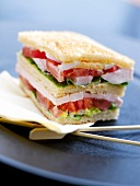 Ham ,tomato and lettuce sandwich