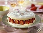 Meringue cake filled with mascarpone and strawberries
