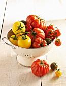 Verschiedene Tomatensorten in einem Abtropfsieb