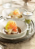 Scallops with vegetables and avocado cappuccino