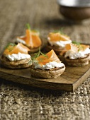 Chestnut flour blinis with smoked salmon