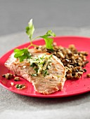 Pork with chopped parsley and mushrooms