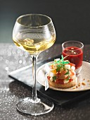 Pear tartare with confit fruits ,summer fruit puree and a glass of Gewurztraminer