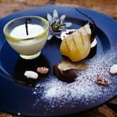 Poached pears in vanilla cream