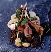 Lamb chops with morel mushrooms and asparagus