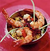 Grilled deep-sea prawns with saffron rice