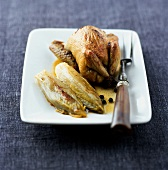 Roast quail with braised chicory