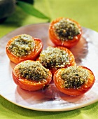 Apricots garnish with crushed pistachios and pistachios