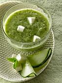 Cucumber,feta and mint soup