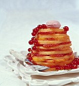 Millefeuille with melon, peach, strawberries and redcurrants