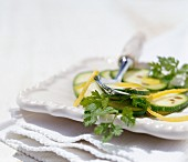 Warm courgette salad with caraway