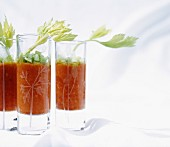 Tomato cream with red pepper and celery