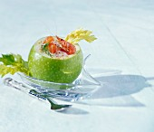 Stuffed Granny Smith with salmon, shrimp and celery