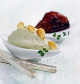 Avocado puree and caramelised pork spareribs