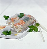 Spring rolls with shrimp and pearl barley
