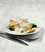 Avocado salad with barley, haddock and yoghurt sauce