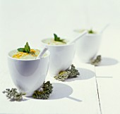 Cucumber and avocado cream with millet