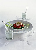 Chicken breast with mozzarella, rocket, preserved tomatoes and yoghurt with mint