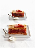 Mille feuilles with strawberries, tomatoes and herbs