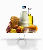Well-balanced food products on scales