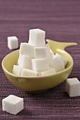 Bowl of white sugar lumps