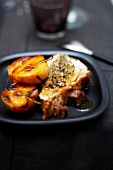 Stuffed veal breast with roast apples and honey
