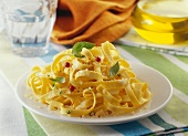 Tagliatelles with Fleur de sel sea salt and basil