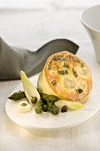 Monkfish and asparagus cake