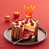 White chocolate and raspberry Charlotte
