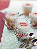 Tapioca with coconut milk and strawberries