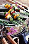 Vegetable rosemary skewers