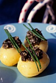 Ratte potaoes stuffed with seaweed tartare