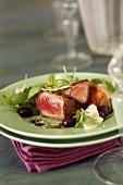Tuna steak with parmesan crust and balsamic vinegar