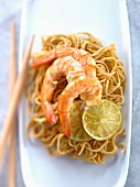 Shrimps with yuzu and ginger,sauteed noodles