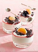 Fromage blanc with blackcurrants and clementines