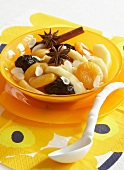 Dried fruit salad with orange juice