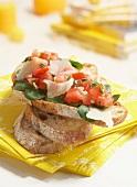 Corn salad, tomato and parmesan open sanwich