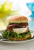 Dried tomato and pesto hamburger