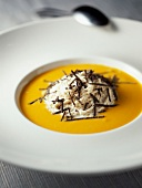 Cream of pumpkin soup with bacon mouuse and truffles