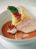 Red mullet fillet with tomato puree