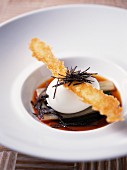 Coodled egg with beets,crisp parmesan stick and truffles