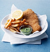 Fish and chips with herb mayonnaise