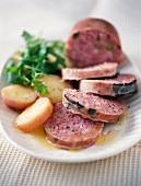 Pistachio and truffle saucisson,potato salad