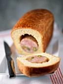 Pistachio sausage from Lyon in a brioche