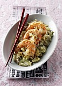 Sauteed shrimps and Chinese cabbage fricassée