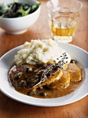 Beef toungue with spicy sauce with capers and mashed potatoes