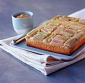 Rhubarb, banana and cinnamon cake