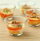Tomato and shrimp Flans