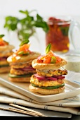 Salmon and mixed herb mini burgers