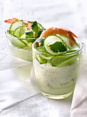 Light cucumber mousse with shrimps,coriander and chives